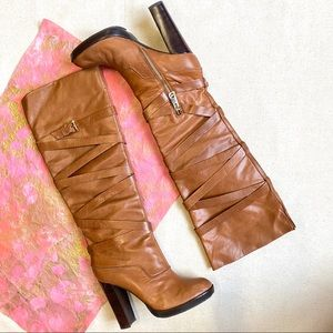 Michael Kors Camel Leather Knee High Heeled Boots